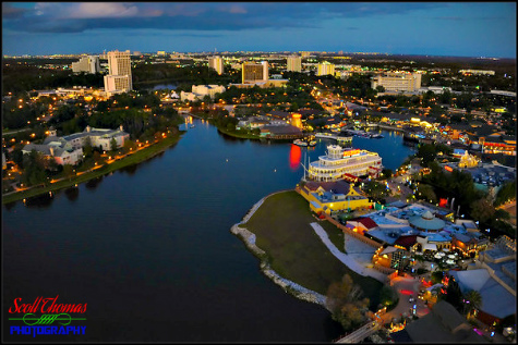 Aerial view of Downtown Disney, Walt Disney World, Orlando, Florida