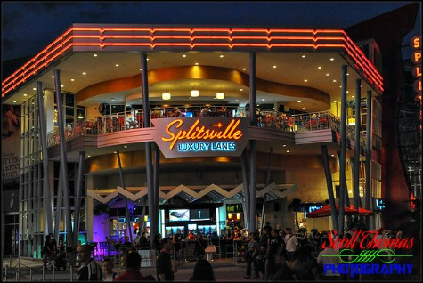 Splitsville Luxury Lanes restaurant and bowling alley at night in Disney Springs, Walt Disney World, Orlando, Florida