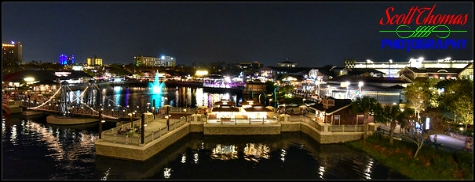 View of Disney Springs Marketplace from the top deck of the Paddlefish restaurant at night, Walt Disney World, Orlando, Florida