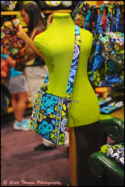 A mannequin modeling the latest in Disney Vera Bradley purses in the World of Disney store in Downtown Disney Marketplace, Walt Disney World, Orlando, Florida.