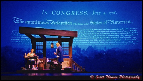 Thomas Jefferson reads to Benjamin Franklin during the American Adventure audio-animatronics show in Epcot's World Showcase, Walt Disney World, Orlando, Florida