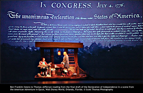 Ben Franklin listens to Thomas Jefferson reading from the final draft of the Declaration of Independence in a scene from the American Adventure in Epcot, Walt Disney World, Orlando, Florida