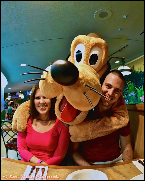 A couple gets a hug from Pluto in the Garden Grill restaurant in Epcot's The Land pavilion, Walt Disney World, Orlando, Florida