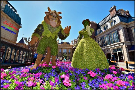 Beauty and the Beast topiaries in the France pavilion during the Flower and Garden Festival at Epcot's World Showcase, Walt Disney World, Orlando, Florida