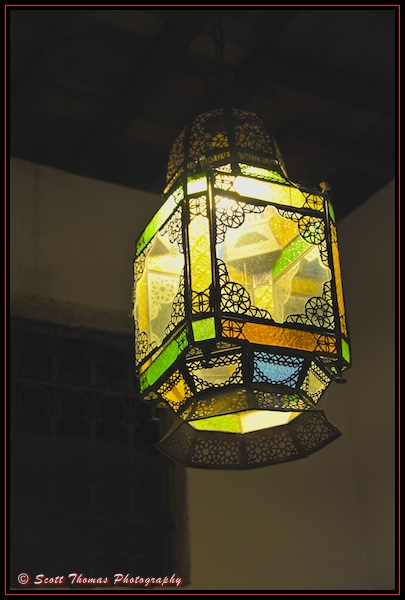 Colorful light fixture in the Fez House in Epcot's Morocco, Walt Disney World, Orlando, Florida