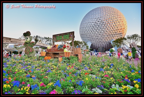Daisy Duck's vegetable stand in front of Spaceship Earth at Epcot, Walt Disney World, Orlando, Florida