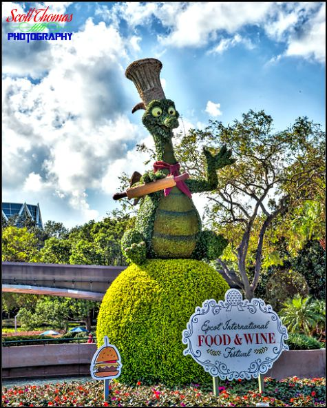 Figment topiary welcoming guests to the 2017 Food & Wine Festival in Epcot, Walt Disney World, Orlando, Florida