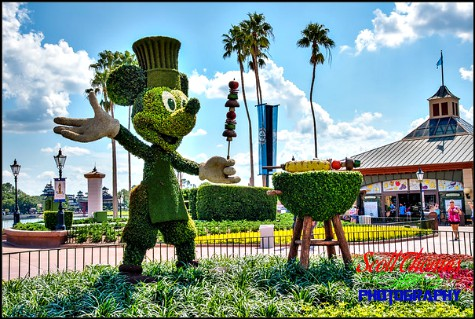 Mickey Mouse grill topiary on display during the 2017 Food and Wine Festival in Epcot's World Showcase, Walt Disney World, Orlando, Florida