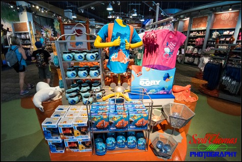 Finding Dory merchandise inside Mouse Gears in Epcot's Future World, Walt Disney World, Walt Disney World, Orlando, Florida