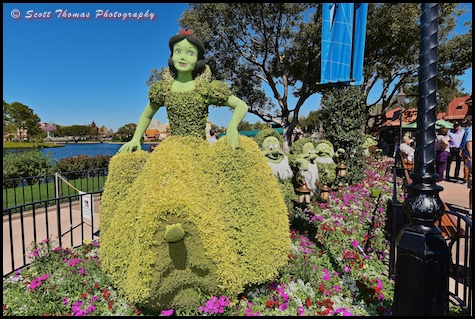 Character topiaries from the movie, Snow White, near the Germany pavilion in Epcot's World Showcase, Walt Disney World, Orlando, Florida