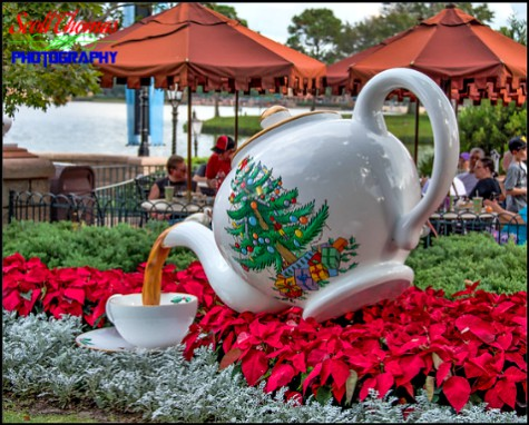 Holiday teapot at the United Kingdom pavilion in Epcot's World Showcase, Walt Disney World, Orlando, Florida