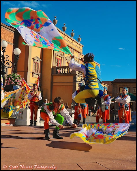 Flag Wavers of Sansepolcro show at Epcot's Italy pavilion in World Showcase, Walt Disney World, Orlando, Florida