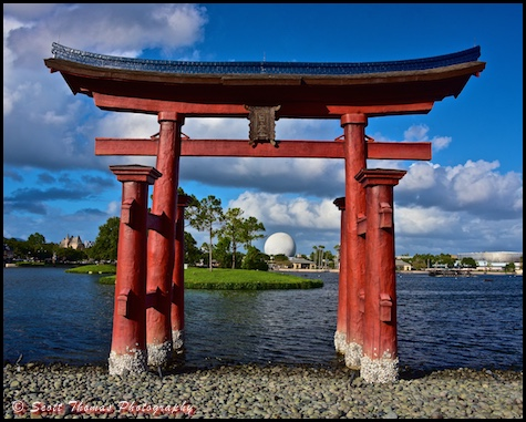 Spaceship Earth framed by the Red torii gate in the Japan pavilion in Epcot's World Showcase, Walt Disney World, Orlando, Florida