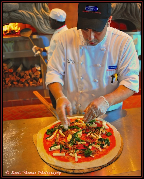 Chef making a pizza in Via Napoli Ristorante e Pizzeria in Epcot's Italy pavilion, Walt Disney World, Orlando, Florida