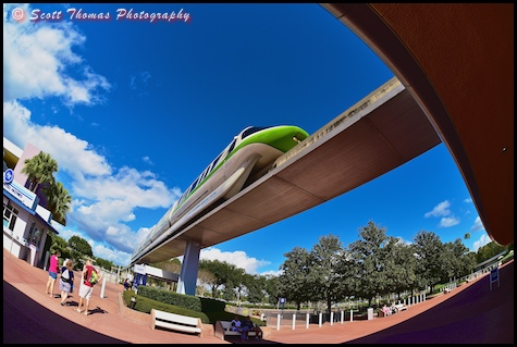 Monorail Green heading into Epcot over the entrance to the park, Walt Disney World, Orlando, Florida