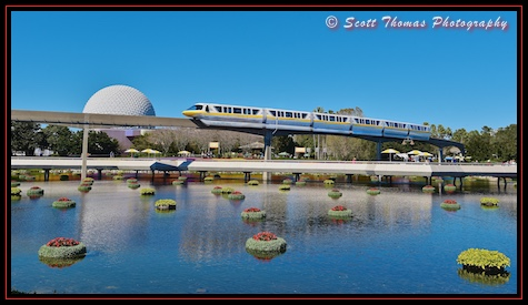 Monorail Yellow moves over floating flowers in Epcot, Walt Disney World, Orlando, Florida