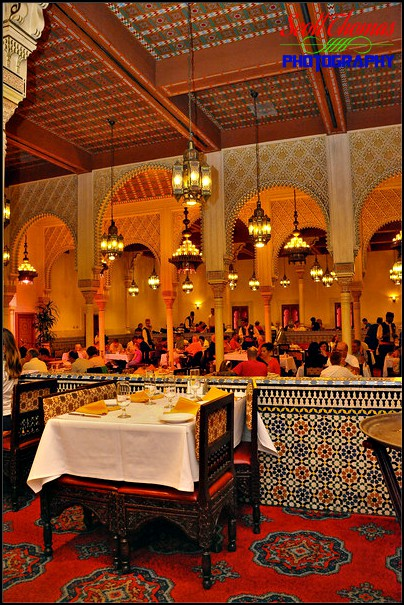 Restaurant Marrakesh dining area inside Morocco in Epcot's World Showcase, Walt Disney World, Orlando, Florida
