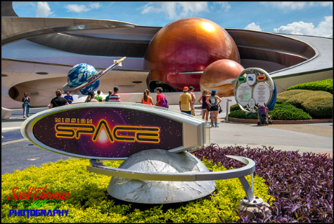 Curves and spheres of Mission Space in Epcot's Future World, Walt Disney World, Orlando, Florida