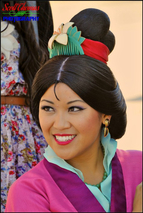 Mulan smiling for guests in Epcot's China pavilion, Walt Disney World, Orlando, Florida