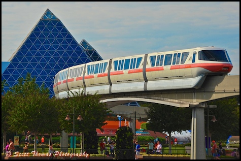 Monorail Pink in Epcot's Future World, Walt Disney World, Orlando, Florida.