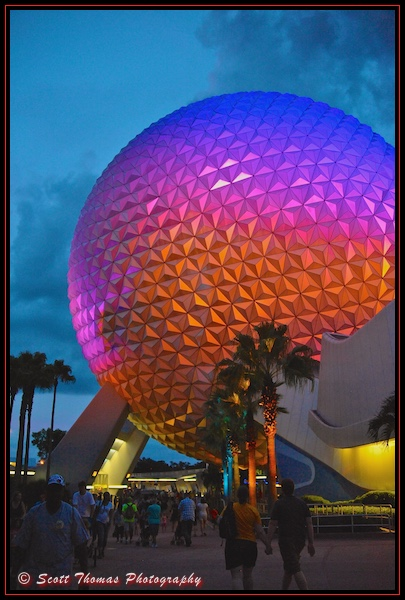 Spaceship Earth at dusk in Epcot's Future World, Walt Disney World, Orlando, Florida