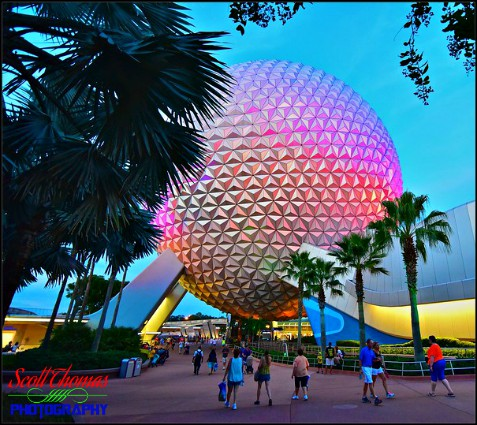 Spaceship Earth illumination at dusk in Epcot's Future World, Walt Disney World, Orlando, Florida