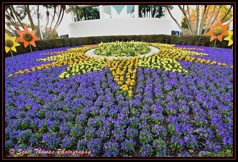 Flower garden behind Spaceship Earth in Epcot, Walt Disney World, Orlando, Florida