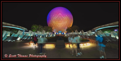 Spaceship Earth at night in Ecpot's Future World, Walt Disney World, Orlando, Florida