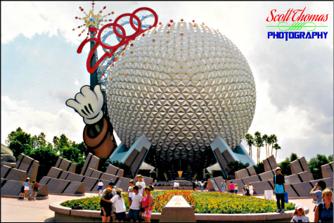 Spaceship Earth with the Mickey wand from 2001 in Epcot, Walt Disney World, Orlando, Florida