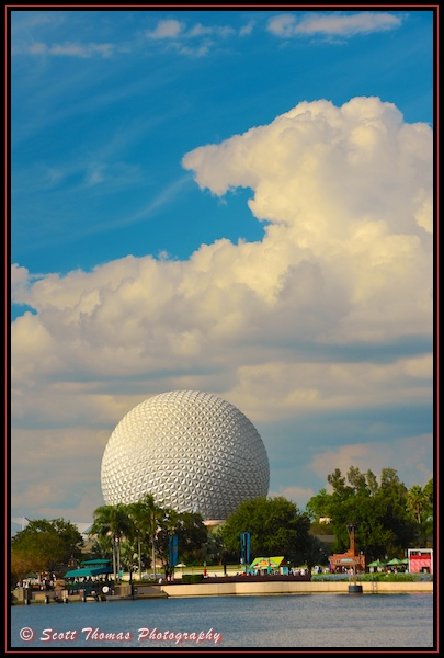 Spaceship Earth on an Autumn day in Epcot's Future World, Walt Disney World, Orlando, Florida