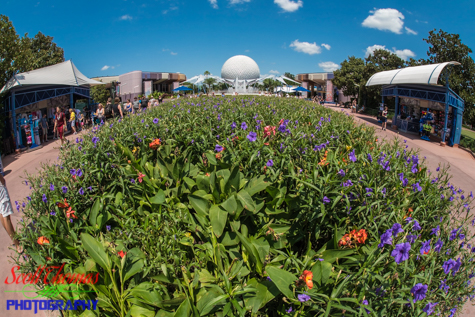 Spaceship Earth rising behind a flower bed in Epcot's Future World, Walt Disney World, Orlando, Florida