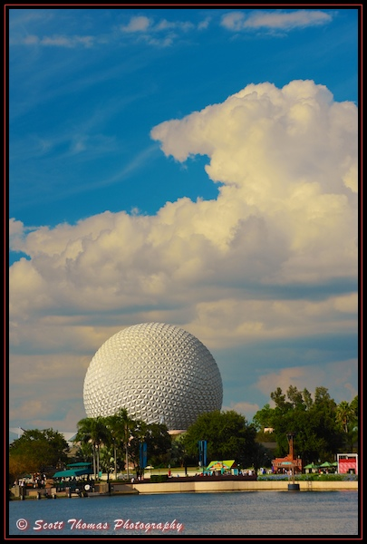 Spaceship Earth as seen from Epcot's World Showcase, Walt Disney World, Orlando, Florida
