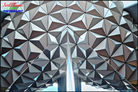 Triangle surfaces make up the exterior of Spaceship Earth at Epcot's Future World, Walt Disney World, Orlando, Florida