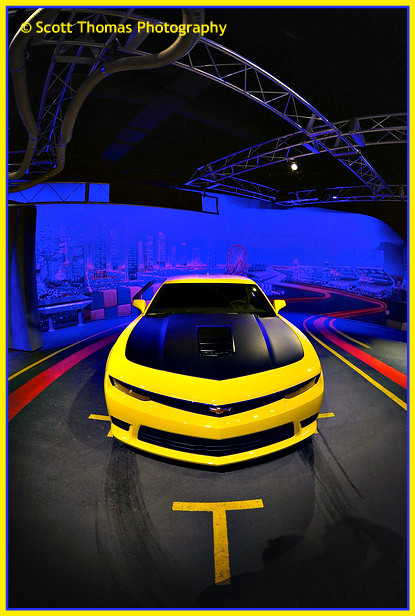 Yellow Chevrolet Camaro inside Test Track at Epcot, Walt Disney World, Orlando, Florida