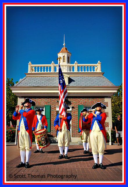 Spirit of America Fife and Drum Corps performing in front of the American Adventure in Epcot's World Showcase., Walt Disney World, Orlando, Florida