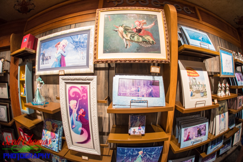 Framed prints and gifts for sale in The Puffin's Roost inside the Norway pavilion in Epcot's World Showcase, Walt Disney World, Orlando, Florida