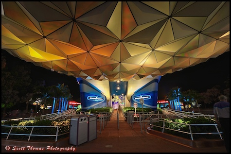 The entrance to Spaceship Earth at night in Epcot's Future World, Walt Disney World, Orlando, Florida