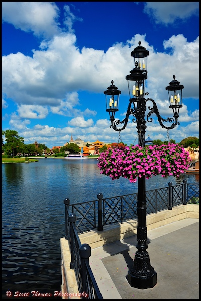 Hanging flowers in front of the Italy pavilion in Epcot's World Showcase, Walt Disney World, Orlando, Florida