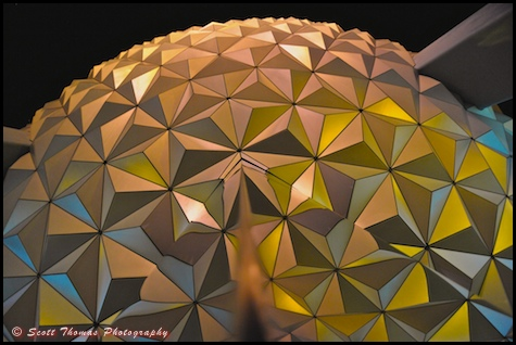Looking up at Spaceship Earth in Epcot at night, Walt Disney World, Orlando, Florida.
