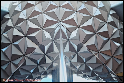 Looking up at Spaceship Earth in Epcot, Walt Disney World, Orlando, Florida.