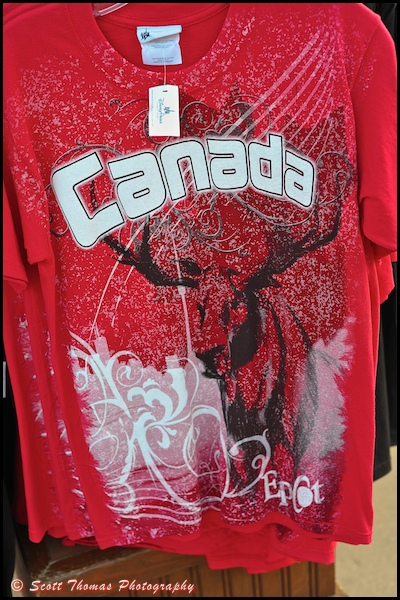 TA t-shirt for sale in the Canada pavilion n Epcot's World Showcase, Walt Disney World, Orlando, Florida