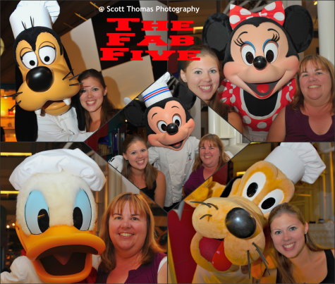The Fab Five hamming it up at Chef Mickey's in the Contemporary Resort, Walt Disney World, Orlando, Florida