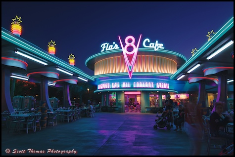 Flo's V8 Café at night in Carsland, Disney's California Adventure, Anaheim, California