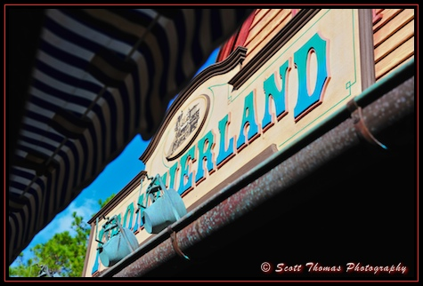 Frontierland Train Station sign in the Magic Kingdom, Walt Disney World, Orlando, Florida
