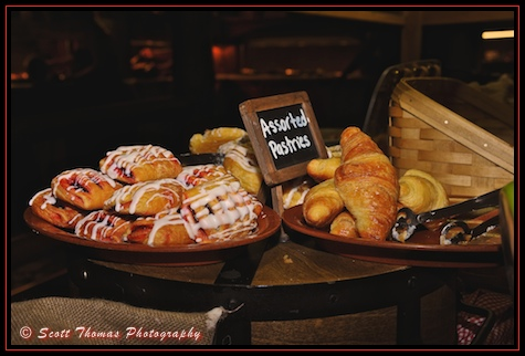 Breakfast pastries at Trail's End Buffet in Fort Wilderncess Resort & Campground, Walt Disney World, Orlando, Florida