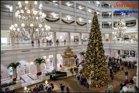 Christmas tree inside the lobby of Disney's Grand Floridian Resort, Walt Disney World, Orlando, Florida