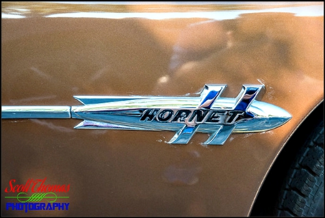 Quarter panel emblem of a 1951 Hudson Hornet photographed near Syracuse, New York