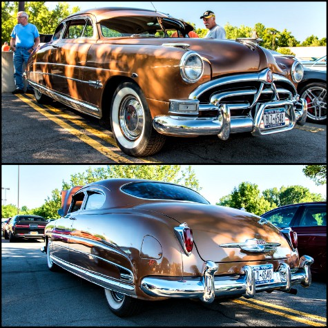 Front and rear views of a 1951 Hudson Hornet photographed near Syracuse, New York