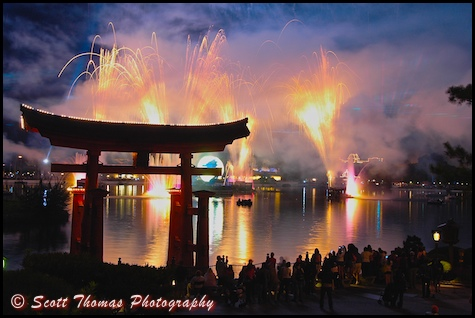 IllumiNations: Reflections of Earth from the Japan pavilion in Epcot's World Showcase, Walt Disney World, Orlando, Florida