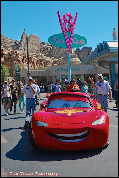 Lightning McQueen from the movie, Cars, Disney's California Adventure, Anaheim, California